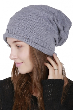 Womens Warm Outdodr Slouchy Cable Knit Skullies Beanie Hat Gray