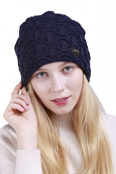 Womens Fashion Outdodr Slouchy Cable Knit Skullies Beanie Hat Blue