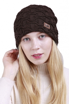 Womens Fashion Outdodr Slouchy Cable Knit Skullies Beanie Hat Coffee