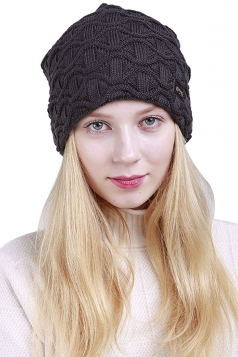 Womens Warm Outdodr Slouchy Cable Knit Skullies Beanie Hat Dark Gray