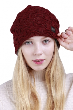 Womens Fashion Outdodr Slouchy Cable Knit Skullies Beanie Hat Ruby