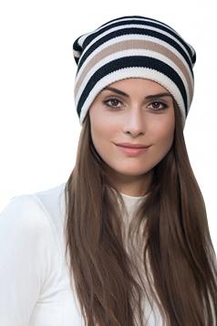 Womens Warm Outdoor Slouchy Stripe Color Block Knit Beanie Hat Beige White