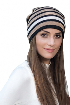 Womens Warm Outdoor Slouchy Stripe Color Block Knit Beanie Hat Coffee