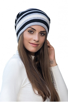 Womens Warm Outdoor Slouchy Stripe Color Block Knit Beanie Hat Gray