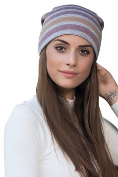 Womens Warm Outdoor Slouchy Stripe Color Block Knit Beanie Hat Purple