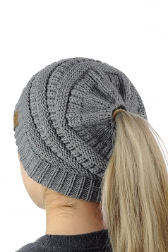 Womens Soft Ponytail Stretch Cable Messy High Bun Knit Beanie Hat Gray