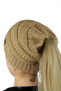 Womens Ponytail Stretch Cable Messy High Bun Knit Beanie Hat Khaki