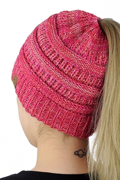 Womens Soft Ponytail Stretch Cable Messy High Bun Knit Beanie Hat Pink