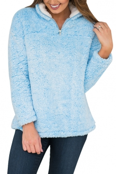 Womens Zipper Turndown Collar Long Sleeve Plush Plain Sweatshirt Blue