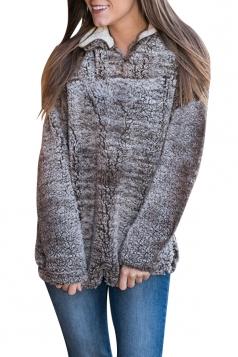 Womens Zipper Turndown Collar Long Sleeve Plush Plain Sweatshirt Coffee