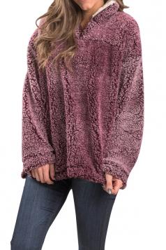 Womens Zipper Turndown Collar Long Sleeve Plush Plain Sweatshirt Ruby