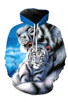Womens Long Sleeve White Tiger Printed Pullover Hoodie Black And White