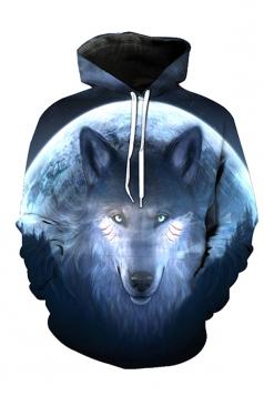 Womens Long Sleeve Kangaroo Pocket Wolf Printed Pullover Hoodie Blue