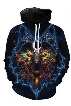 Womens Drawstring Long Sleeve Evil Wolf Printed Pullover Hoodie Black