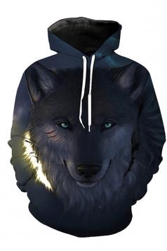 Womens Drawstring Long Sleeve Wolf Printed Pullover Hoodie Dark Gray