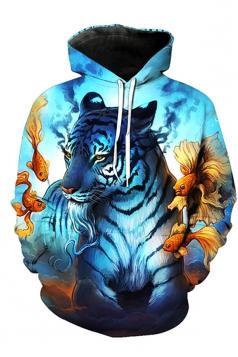 Womens Kangaroo Pocket White Tiger Printed Pullover Hoodie Light Blue