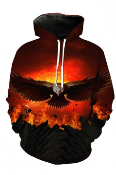 Womens Drawstring Kangaroo Pocket Eagle Printed Pullover Hoodie Orange