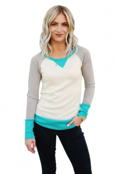 Womens Round Neck Long Sleeve Color Block Plain Sweatshirt Blue