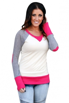 Womens Round Neck Long Sleeve Color Block Plain Sweatshirt Rose Red