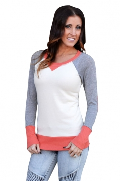 Womens Round Neck Long Sleeve Color Block Plain Sweatshirt Orange