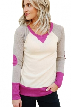 Womens Round Neck Long Sleeve Color Block Plain Sweatshirt Purple