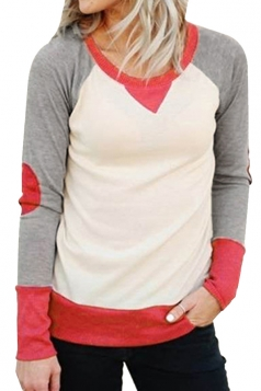 Round Neck Long Sleeve Color Block Plain Sweatshirt Watermelon Red