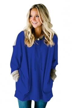Womens Oversized Drawstring Slant Pockets Knit Plain Hoodie Blue