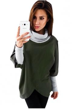 Womens Stylish Cowl Neck Asymmetric Hem Plain Sweatshirt Army Green