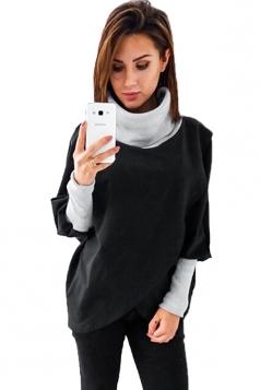 Womens Stylish Cowl Neck Asymmetric Hem Plain Sweatshirt Black