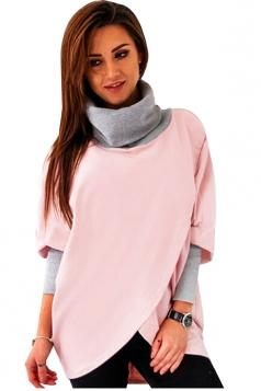 Womens Stylish Cowl Neck Asymmetric Hem Plain Sweatshirt Pink