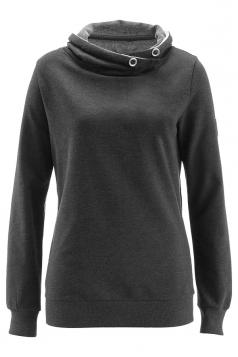 Womens Cowl Neck Slant Pockets Eyelet Plain Sweatshirt Dark Gray