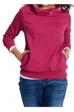 Womens Casual Cowl Neck Slant Pockets Eyelet Plain Sweatshirt Rose Red