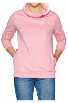 Womens Casual Cowl Neck Slant Pockets Eyelet Plain Sweatshirt Pink