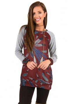 Womens Crew Neck Raglan Sleeve Feather Printed Sweatshirt Ruby