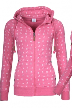 Womens Close-Fitting Drawstring Zipper Pocket Printed Hoodie Rose Red