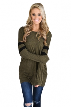 Womens Trendy Crew Neck Long Sleeve Striped Sweatshirt Army Green