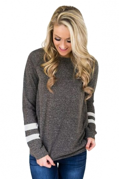 Womens Trendy Crew Neck Long Sleeve Striped Sweatshirt Dark Gray