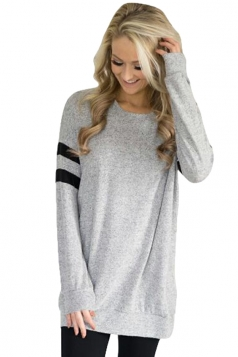 Womens Trendy Crew Neck Long Sleeve Striped Sweatshirt Light Gray
