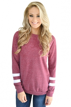 Womens Trendy Crew Neck Long Sleeve Striped Sweatshirt Rose Red