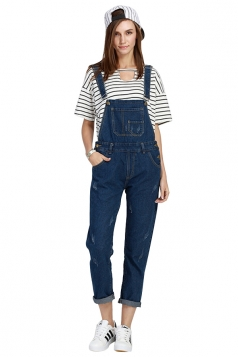 Womens Cute Denim Overalls Pockets Straps Plain Jumpsuit Blue