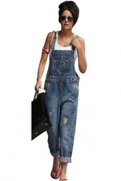 Womens Casual Denim Overalls Pockets Straps Plain Jumpsuit Blue