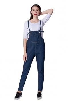 Womens Casual Straps Pockets Denim Overalls Plain Jumpsuit Blue