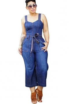 Womens Sexy Tube Straps Waist Tie Denim Overalls Plain Jumpsuit Blue