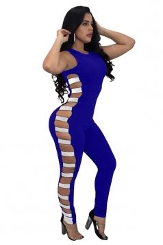 Womens Sexy Sleeveless Cut Out Sequins Plain Jumpsuit Sapphire Blue