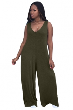 Womens Sexy V-Neck Sleeveless Oversized Plus Size Jumpsuit Army Green