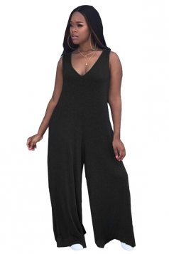 Womens Sexy V-Neck Sleeveless Oversized Plain Plus Size Jumpsuit Black