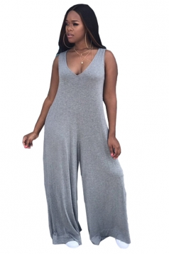 Womens Sexy V-Neck Sleeveless Oversized Plain Plus Size Jumpsuit Gray