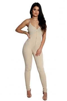 Womens Sexy Spaghetti Straps Zipper Sleeveless Jumpsuit Beige White