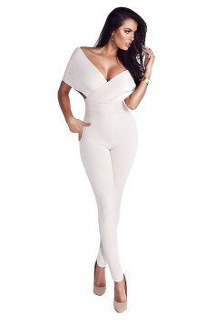 Womens Sexy Deep V-Neck Bandage High Waisted Plain Jumpsuit White