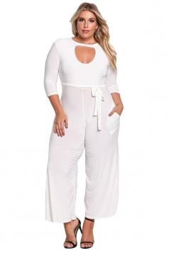 Womens Plus Size Cut Out Wide Leg Waist Tie Plain Jumpsuit White